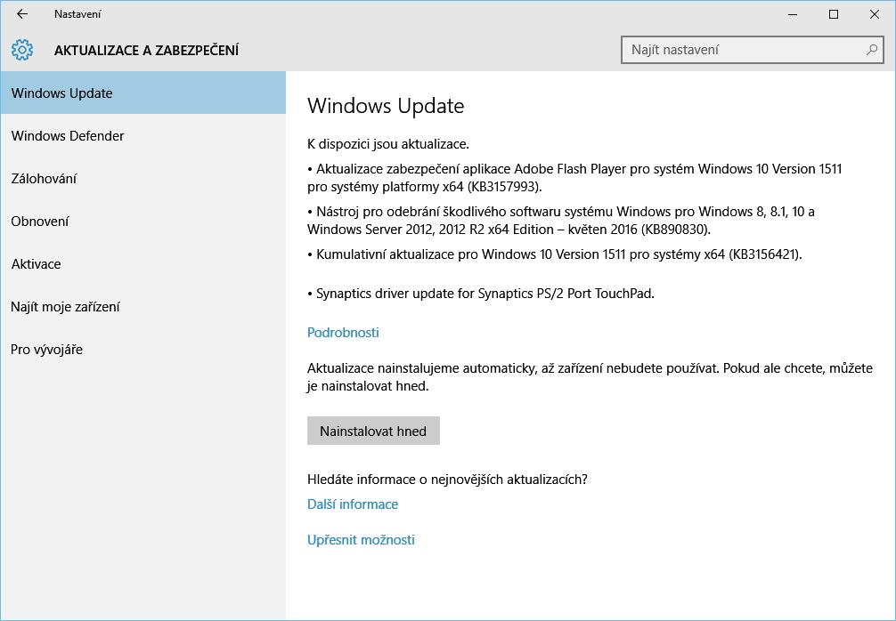 Kumulativní update KB3156421 už čeká...