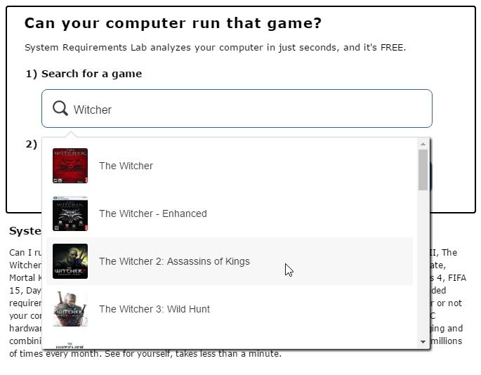 Vybereme správnou verzi dané hry - každá se může kapku lišit ve svých požadavcích
