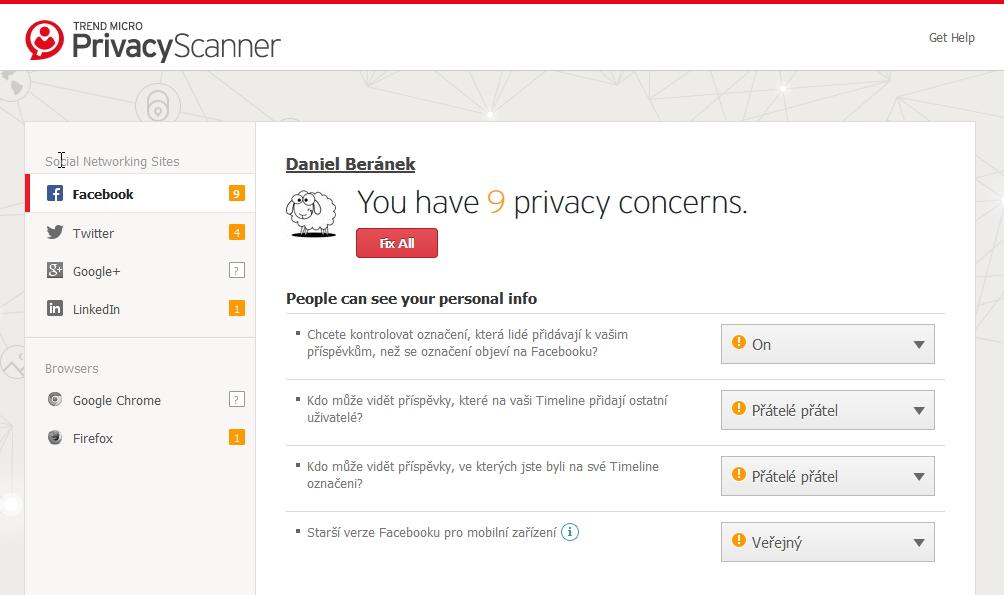 Za to Privacy Scanner (coby rozšíření browseru) je uděláno přehledně