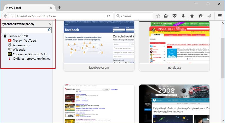 Firefox 47: synchronizované panely mobilní verze prohlížeče