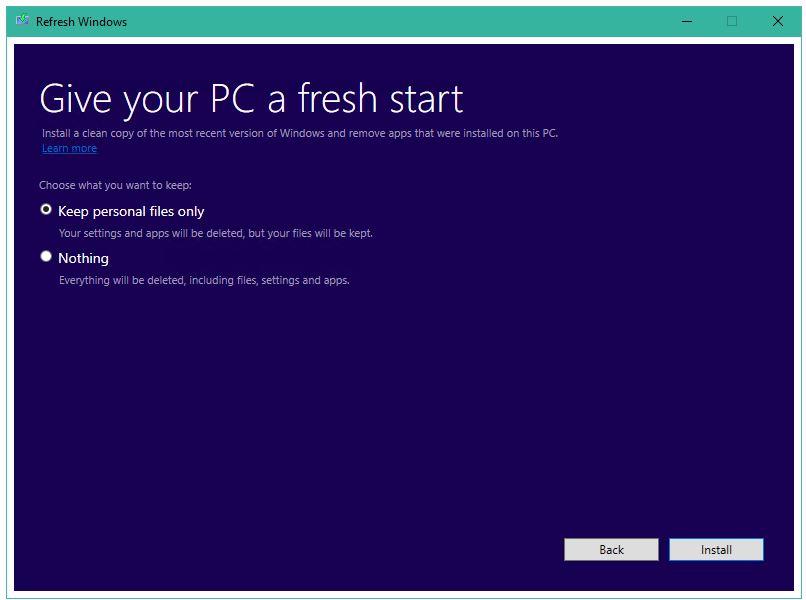 Nástroj Refresh Windows v plné své kráse