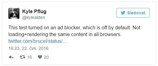 Test byl proveden na prohlížeči, u nějž bylo zapnuto blokování reklamy - které je ve výchozím nastavení vypnuto. Všechny browsery tedy nenačítaly a nevykreslovaly tentýž obsah.