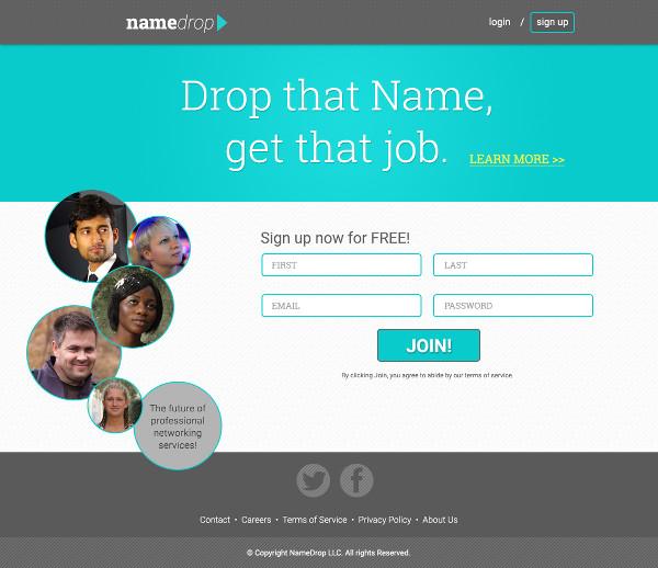 Homepage fiktivní sociální sítě NameDrop