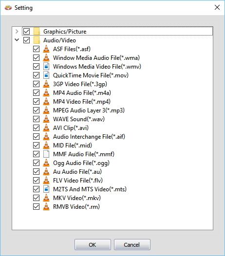 MiniTool Photo Recovery: specifikace požadovaných formátů v Settings