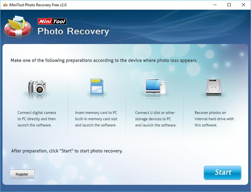 Startovní obrazovka MiniTool Photo Recovery prezentuje druhy médií, z kterých je možno obnovovat