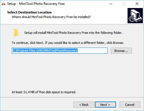 Instalace MiniTool Photo Recovery je prostá