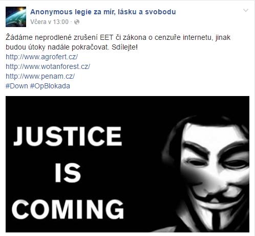 Vyjádření podskupiny Anonymous legie za mír, lásku a svobodu na Facebooku