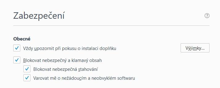 Změny doznaly i položky Zabezpečení Firefoxu
