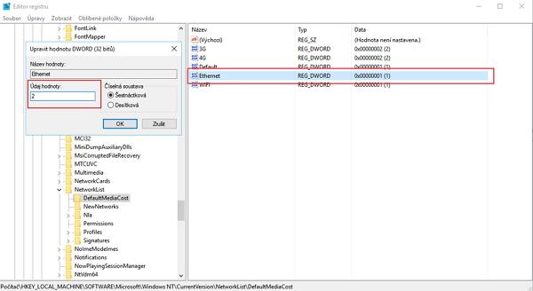 Ve složce DefaultMediaCost volíme položku Ethernet a přiřadíme ji Údaj hodnoty 2