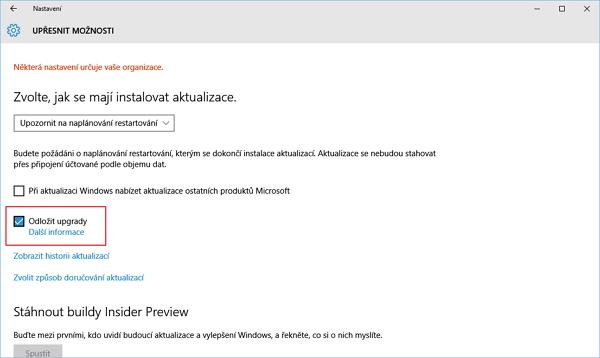 Oddálení výročního povýšení pomocí funkce Odložit upgrady (Windows 10 Pro)