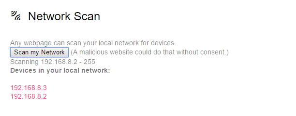 Webkay nabízí provedení skenování místní sítě - útočné weby se na povolení neptají