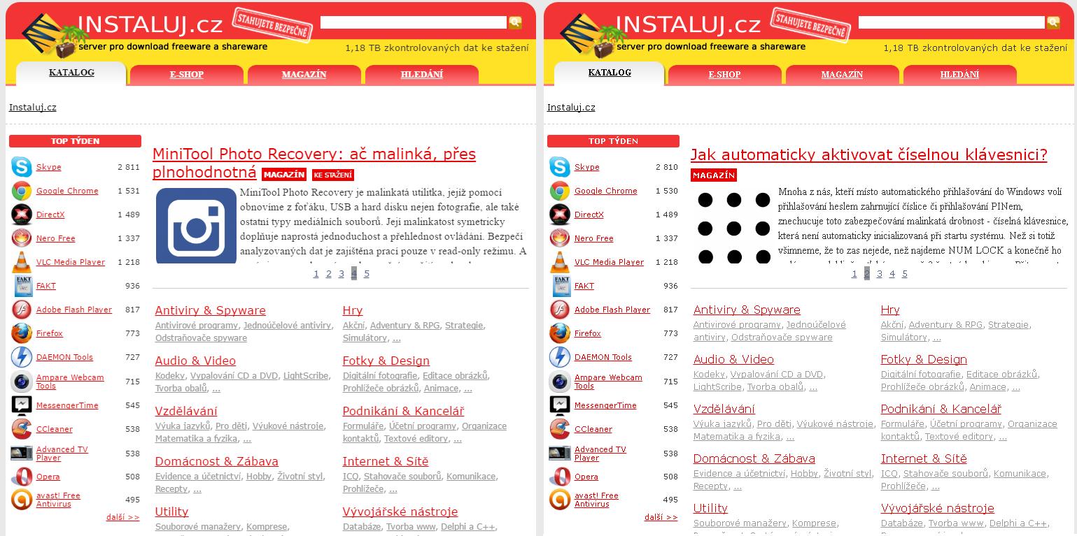 Instaluj.cz - vlevo vykresleno pomocí DirectWrite, vpravo pomocí GDI