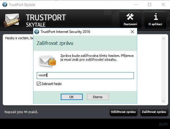 TrustPort Skytale zašifruje zprávy pomocí 256bitové AES šifrování