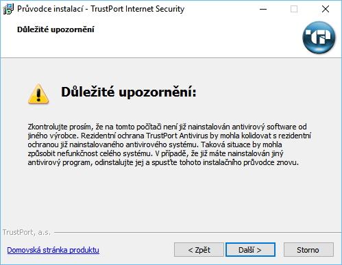 TrustPort Internet Security nezapomíná varovat před možnou kolizí bezpečnostních produktů