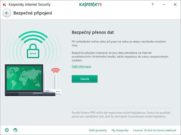 Bezpečné připojení Kaspersky zajistí VPN tunelování komunikace na nezabezpečených sítích