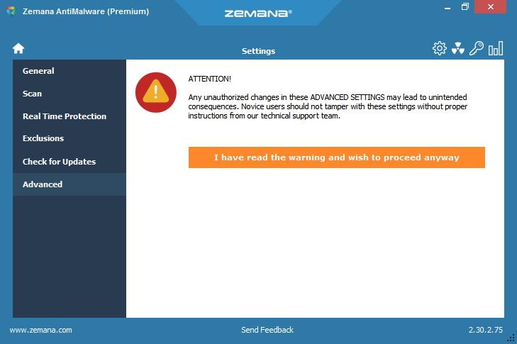 Zemana AntiMalware kapku zbytečně straší před použití pokročilých nastavení