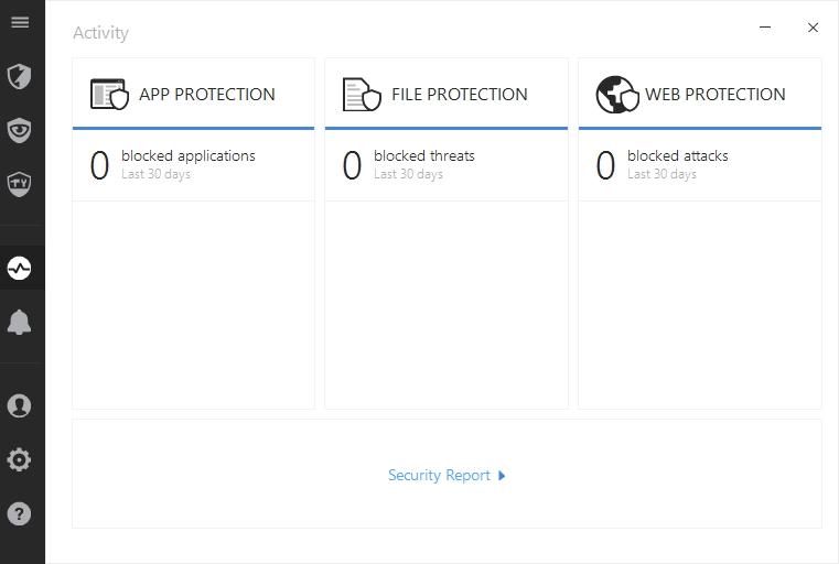 Karta Activity zaznamenává události, které spustily ochranné funkce Bitdefender Internet Security