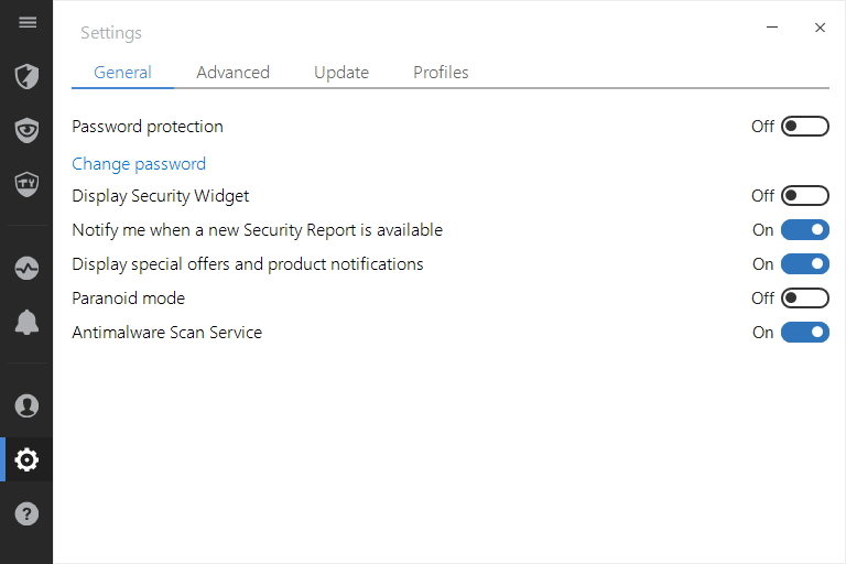 Settings shrnují jen obecná nastavení Bitdefender Internet Security