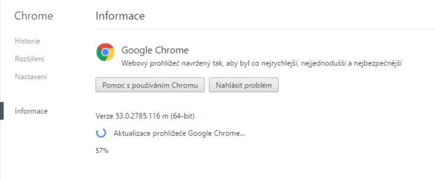 Klasické zjišťování verze Chrome přes Informace v Menu končí aktualizací...