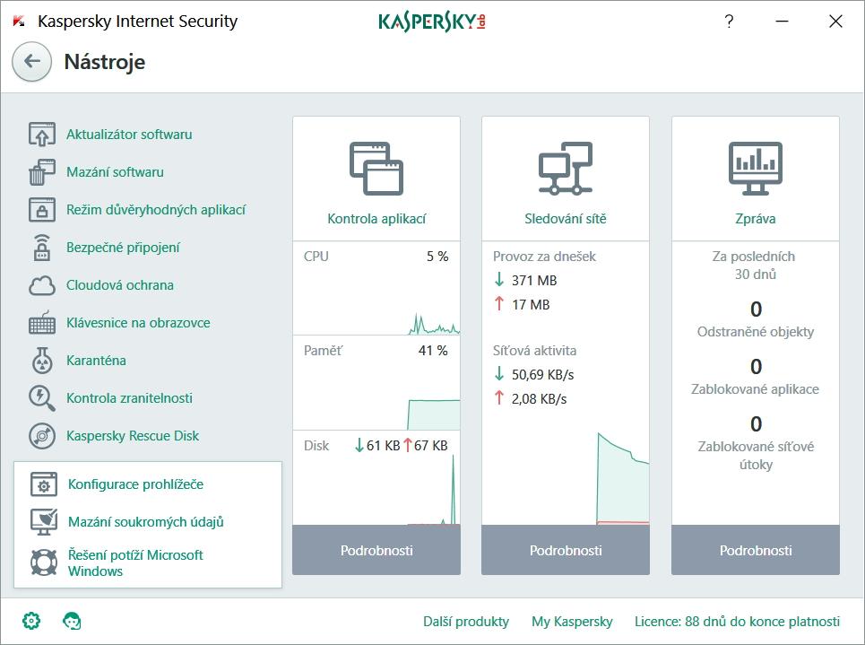 I Další nástroje Kaspersky Internet Security ukrývají velmi šikovné pomocníky
