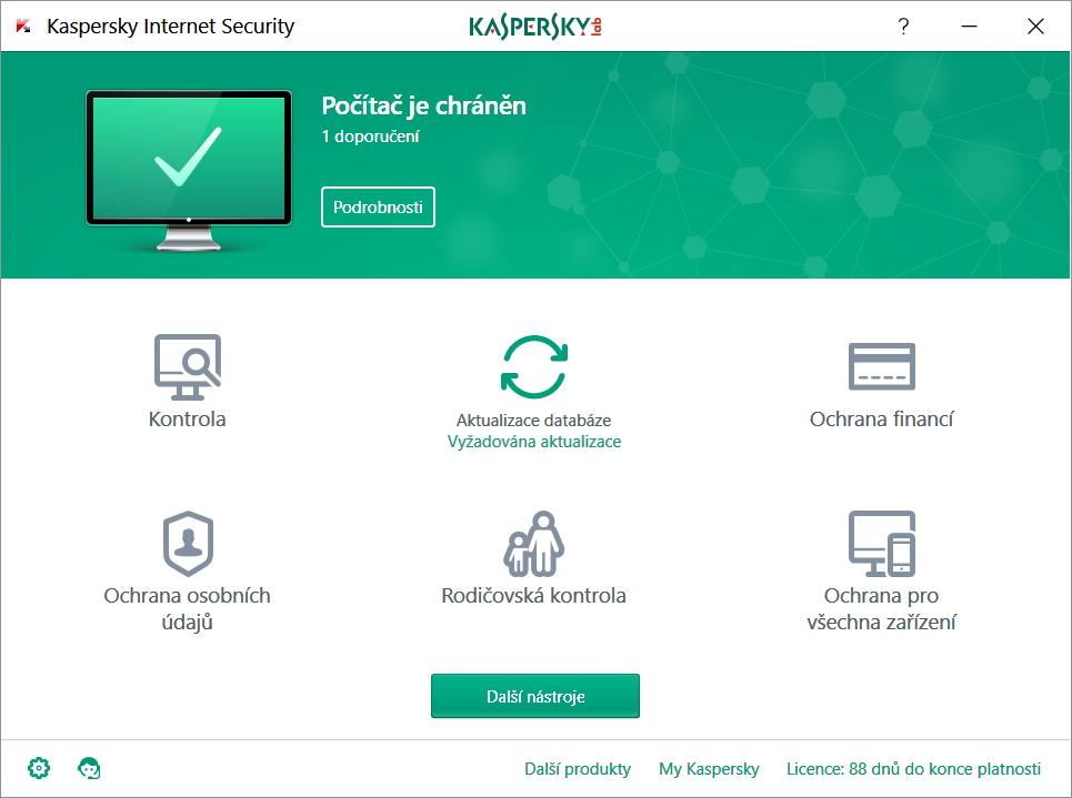 Výchozí rozhraní Kaspersky Internet Security už dává tušit minimalistické provedení celé aplikace