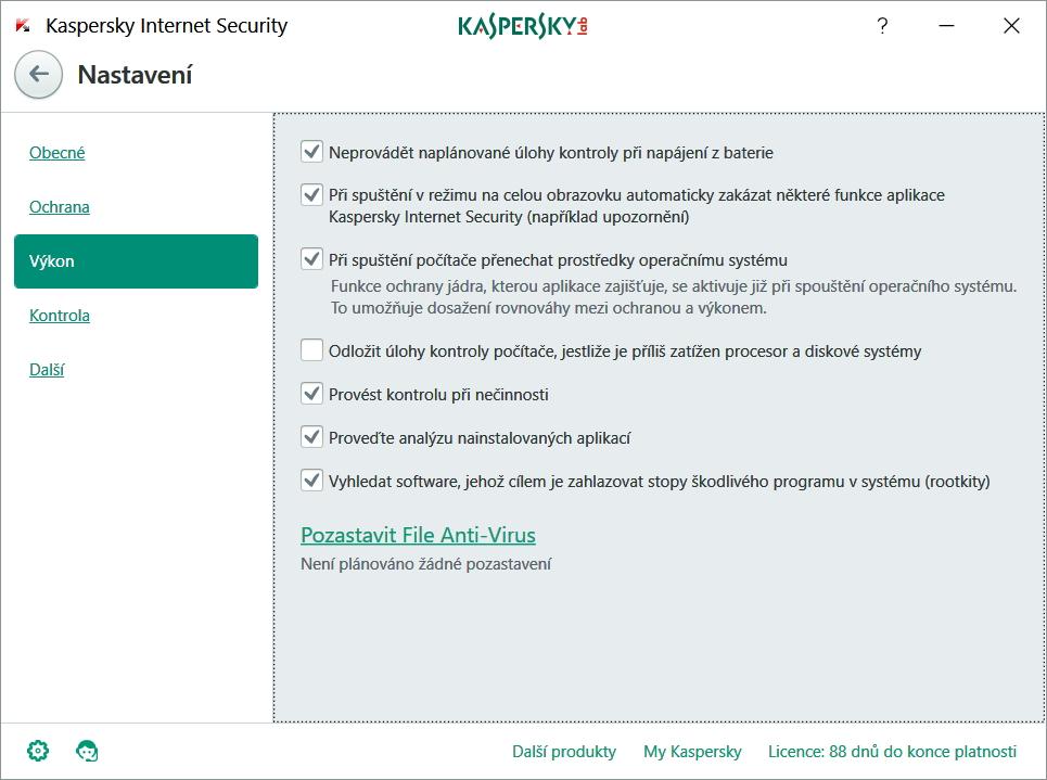 Kaspersky Internet Security lze optimalizovat tak, aby vůbec nezatěžoval systém a počítač