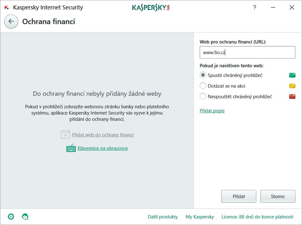 Ochrana financí: rozhraní modulu v aplikaci Kaspersky Internet Security