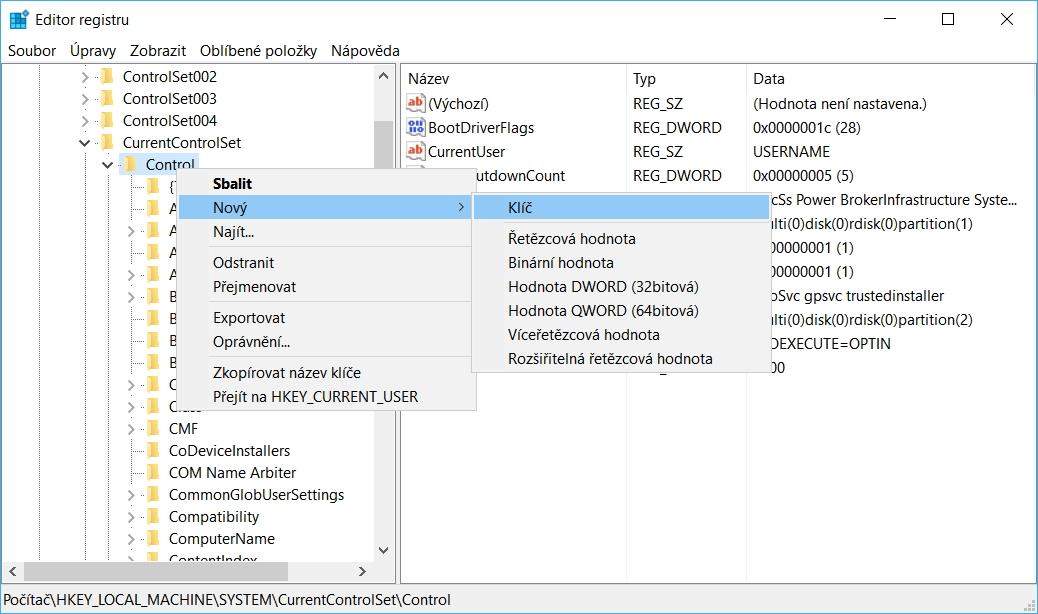 Kliknutím na ní přes pravé myšítko vytvoříme v položce Control nový klíč (viz obr.) a nazveme ho StorageDevicePolicies