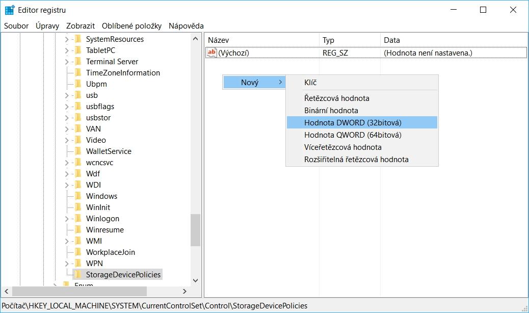 V položce StorageDevicePolicies vytvoříme novou Hodnotu DWORD (32bitová) s názvem WriteProtect