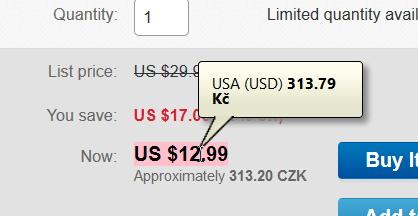 Převodník měn okamžitě nabízí přepočet ceny v cizí měně na koruny dle aktuálního kurzu ČNB