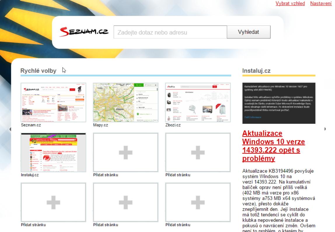 Seznam Lištička - Rychlá volba zpřístupňuje hned několik nástrojů a možností konfigurace prohlížeče