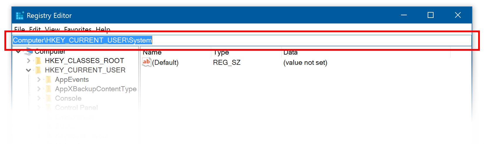 Adresní řádek Editor registru se dá aktivovat klávesovou zkratkou ALT + D