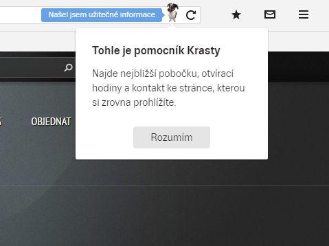Pejsek Krasty rychle zobrazí kontaktní informace, otevírací hodiny a další data instituce navštíveného webu