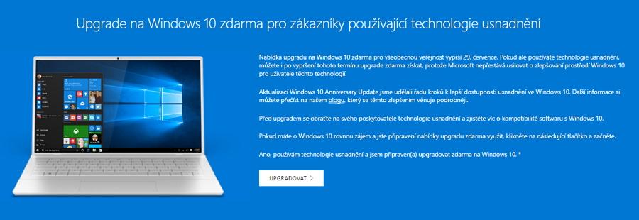 Upgrade na Windows 10 zůstává stále zdarma prouživatele asistenčních technologií