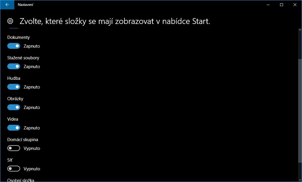 V Přizpůsobení Startu si vybereme, které uživatelské adresáře se mají zobrazovat v nabídce Start