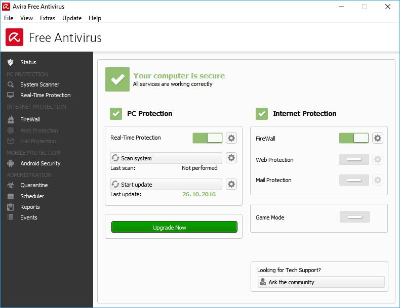 Kompletní nabídka antivirového modulu Avira Free Security Suite