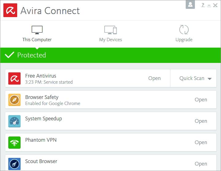 Výchozím rozhraním je prostředí Avira Connect nabízející přístup k jednotlivým utilitám i ke správě dalších zařízení