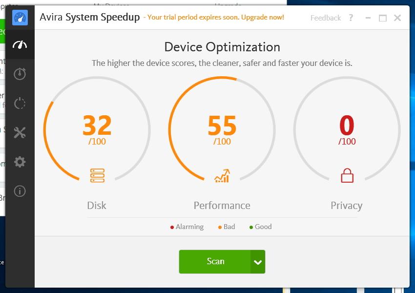 System Speedup okamžitě vyhodnotí slabá místa a možností optimalizace systému