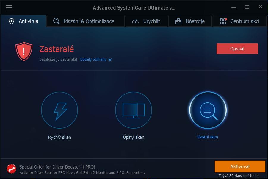 Výchozí obrazovka Advanced System Care Ultimate okamžitě hlásí, co všechno je zastaralé