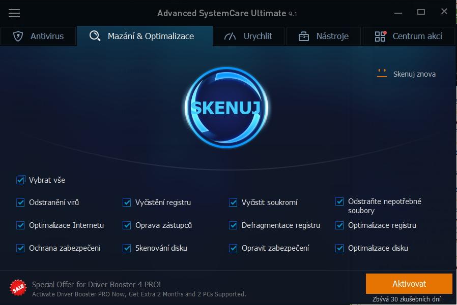 Advanced SystemCare Ultimate: pro jednoklikovou údržbu lze vybrat jednotlivé oblasti čištění a optimalizace