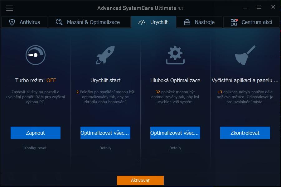 Advanced SystemCare Ultimate: karta Urychlit skrývá hluboké optimalizace systému