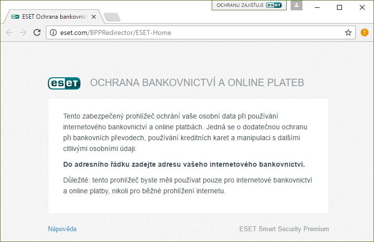 ESET Smart Security Premium: Ochrana bankovnictví je sandboxovaný prohlížeč