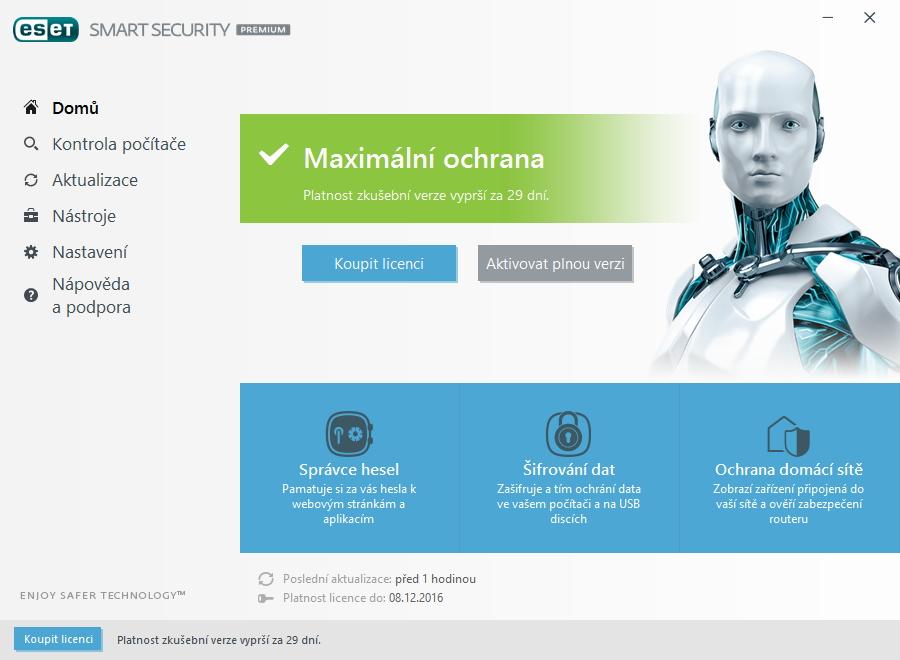 ESET Smart Security Premium: karta Domů vyvolává pocit snadného ovládání...