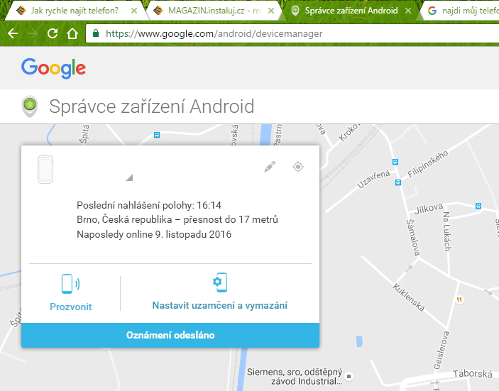 Mapa a rozhraní cloudového účtu Správce zařízení Android