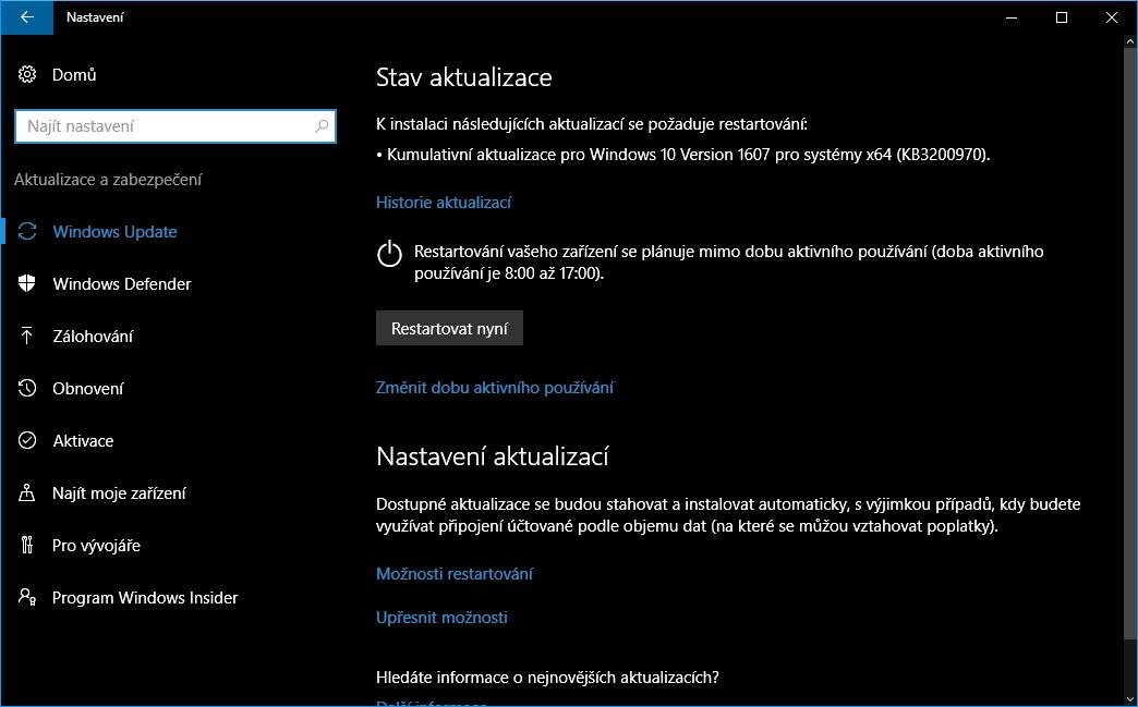 Čerstvé aktualizace čekají na vpuštění do Windows 10