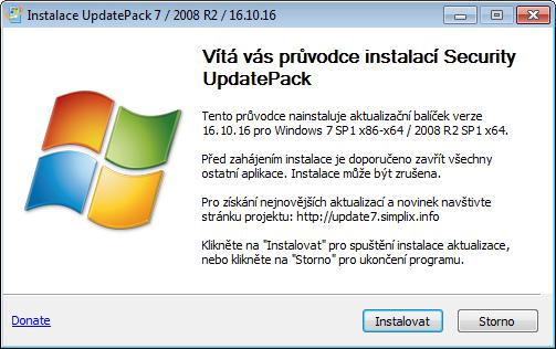 UpdatePack7R2 se instaluje a spustí na jedno kliknutí
