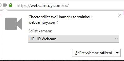Nový dialog dostala situace, při níž se stránka snaží použít webkameru zařízení