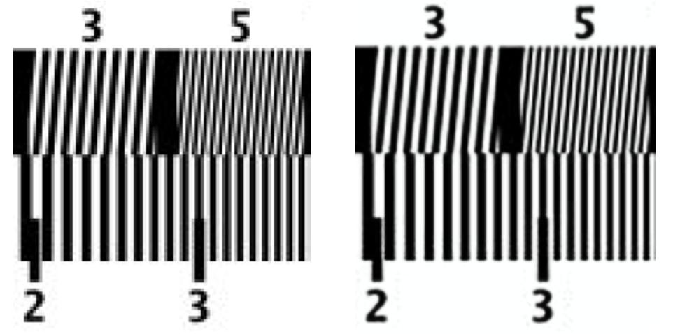 Originál v nízkém rozlišení postižený aliasing zkreslením (vlevo) a převzorkovaný pomocí RAISR bez aliasingu