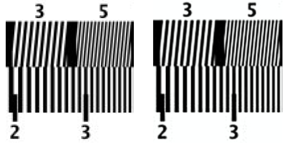 Originál v nízkém rozlišení postižený aliasing zkreslením (vlevo) a pøevzorkovaný pomocí RAISR bez aliasingu