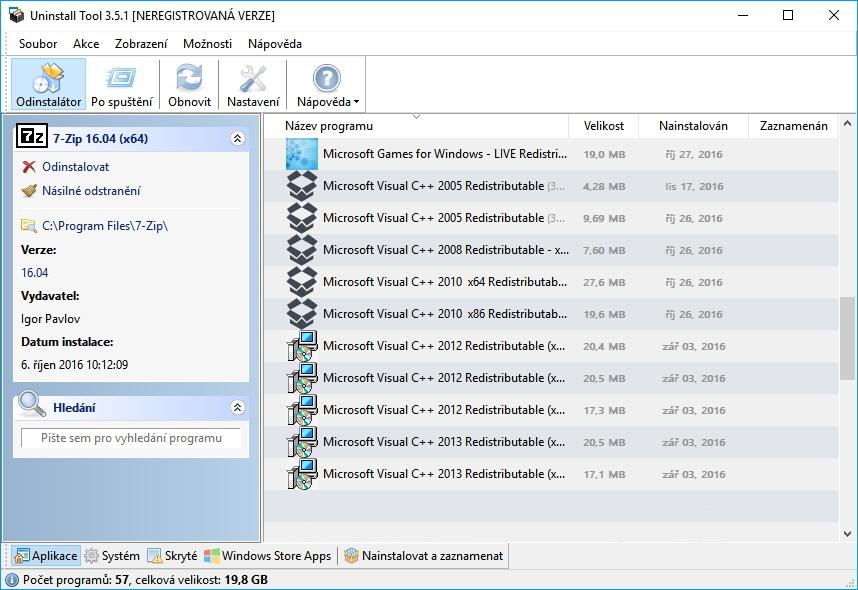 Uninstall Tool: rozhraní jednoduché a české